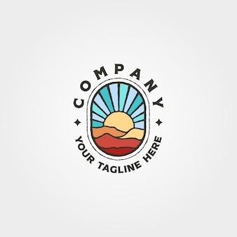 冒険山と夕日のロゴベクトルシンボルイラストデザイン、ヴィンテージサンバーストロゴデザイン