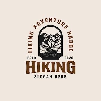 Adventure mountain badge logo template