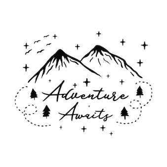 Иллюстрация мотивационного слогана горы приключений