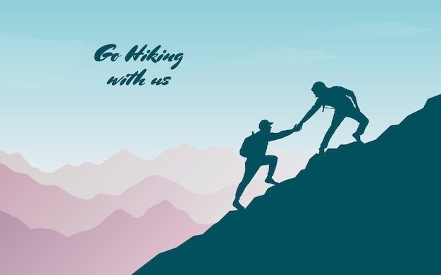 Adventure in the mountains. assist a friend when climbing to the top. hand of support.