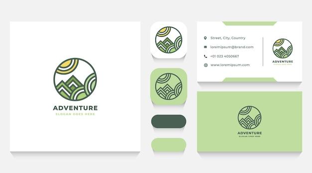 Шаблон логотипа горы приключений и визитная карточка