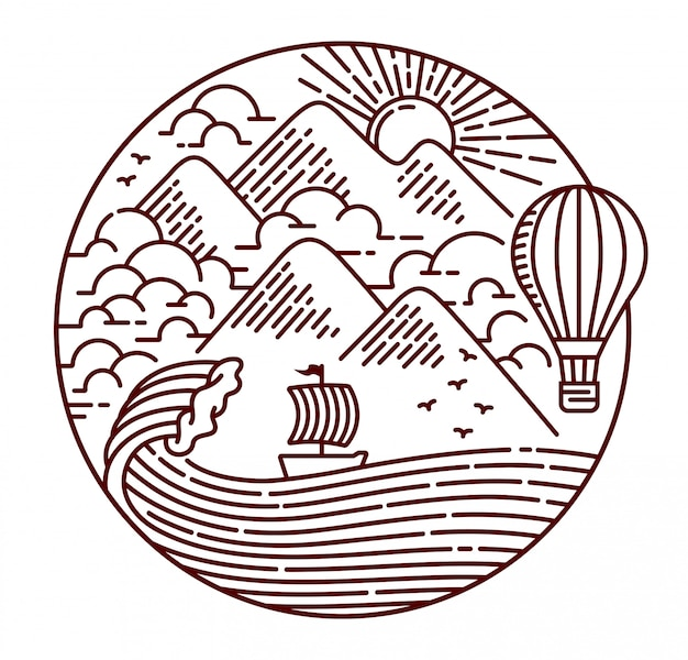Adventure in the ocean line illustration