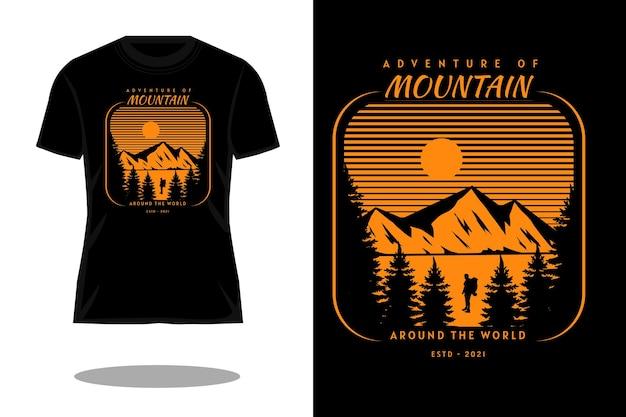 山のシルエットの冒険レトロなtシャツのデザイン