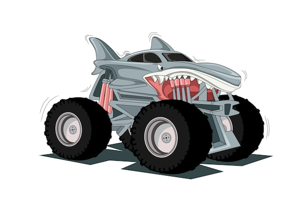 オフロードの冒険ビッグモンスタートラック4x4イラスト