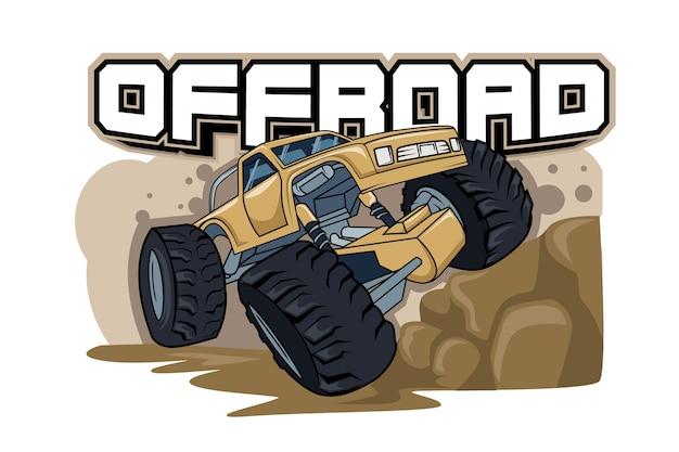 冒険オフロードモンスタートラックのイラスト