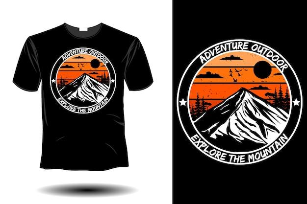 모험 야외 탐험 산 모형 복고풍 빈티지 디자인