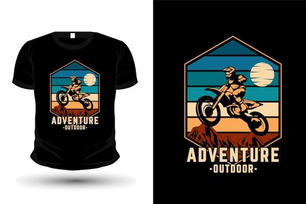 모험 야외 상품 실루엣 티셔츠 디자인 복고풍 스타일