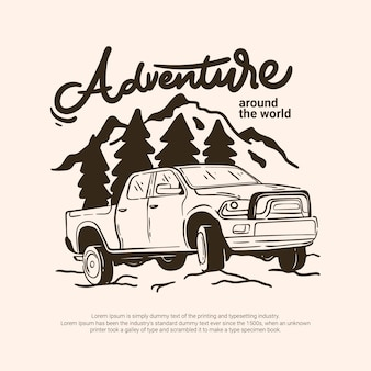 Adventure outdoor offroad vehicle car traveling to forest mountain river