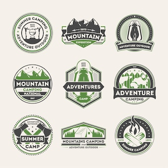Adventure outdoor vintage isolated label set