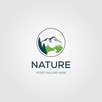 Adventure pine tree creek nature river logo design