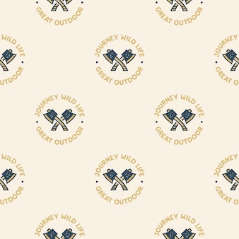 Adventure seamless pattern with camping axes labels badges. journey wild life. great outdoor text. travel wallpaper background.