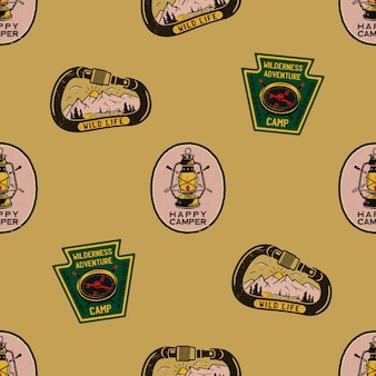 Adventure seamless pattern with camping labels badges. happy camper text. travel wallpaper background.