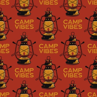 Adventure seamless pattern with camping lantern labels badges. camp vibes text. travel wallpaper background.