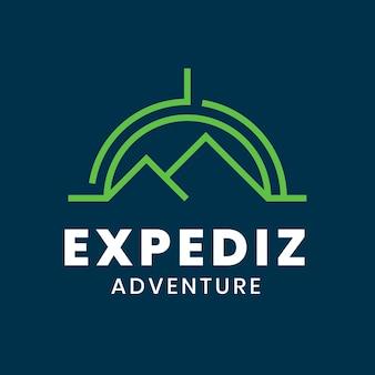 Modello di logo di sport d'avventura, vettore grafico di affari di alpinismo