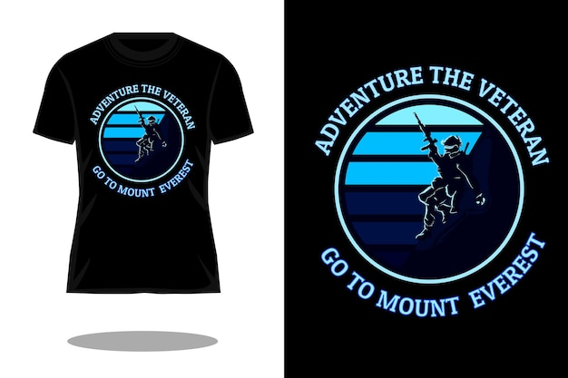 Дизайн футболки с силуэтом ветеранов adventure