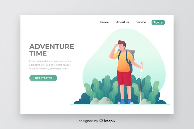 Adventure time landing page with illustration