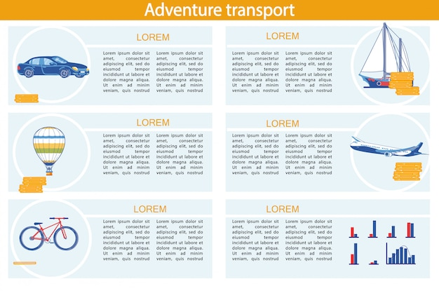 Adventure transport infographic set with vehicle.