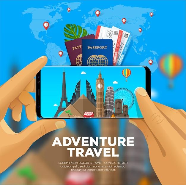 冒険旅行のバナー。一人称視点。スマートフォンでランドマークの写真を撮る。