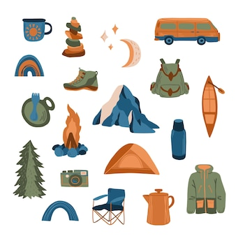 Adventure travel camping set of hand drawn elements