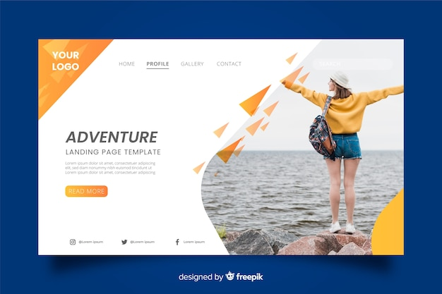 Adventure travel landing page with image