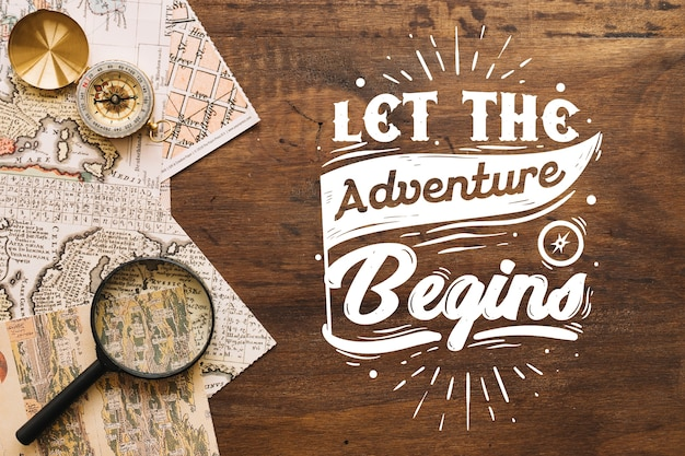 Adventure/travel lettering background with photo