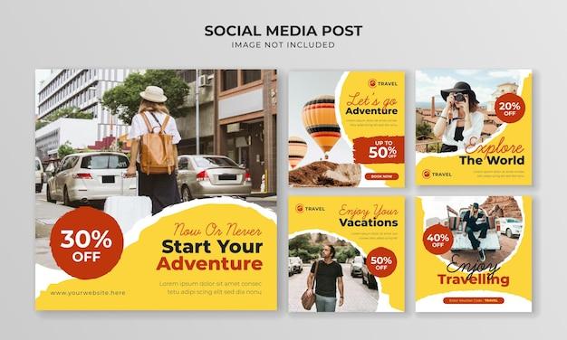 冒険旅行ソーシャルメディアinstagram投稿テンプレート