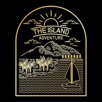 Adventure tropical island line art design