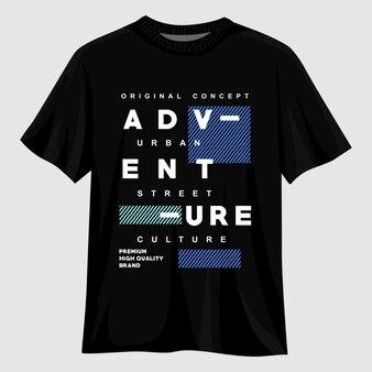 Приключенческий дизайн футболки с типографикой