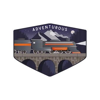 電車と山の冒険ベクトルデザイン
