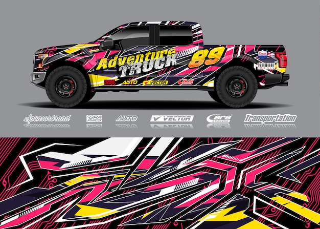 Adventure vehicle wrap illustration