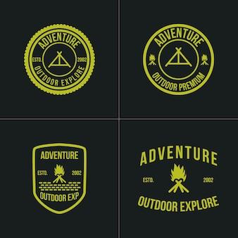 アドベンチャーヴィンテージロゴ要素屋外バッジキャンプ