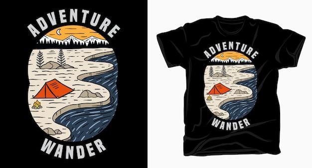 山の近くのキャンプテントと川のtシャツで冒険放浪タイポグラフィ
