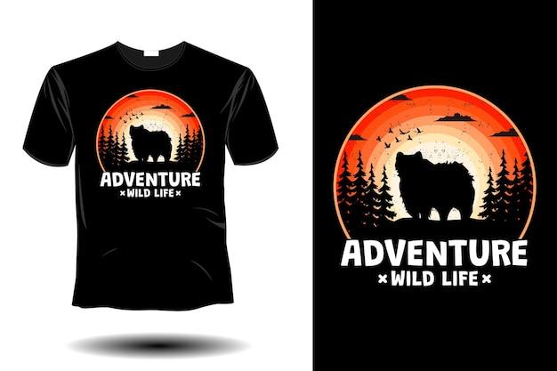 Adventure wild life mockup retro vintage design
