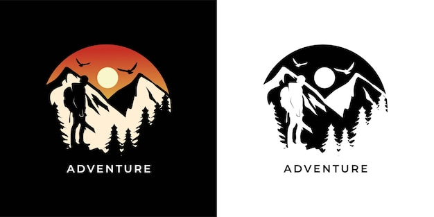 Adventure with hiking logo illustration