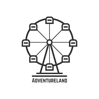 검은 관람차가 있는 어드벤처랜드 아이콘입니다. 놀이 공원, 재미있는 박람회, 박람회장, 여가 활동의 개념. 흰색 배경에 고립. 플랫 스타일 트렌드 현대 로고 타입 디자인 벡터 일러스트 레이션 프리미엄 벡터