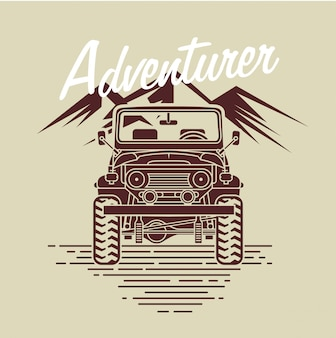 Adventurer car in front of mountain