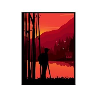 夕日を眺めながら丘の上の冒険家