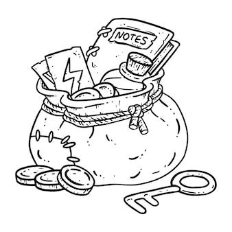 색칠 모험가 팩 라인 아트 그림. 마법의 아이템으로 된 판타지 캐릭터 파우치.