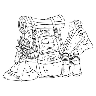 Adventurer pack lineart illustration for coloring
