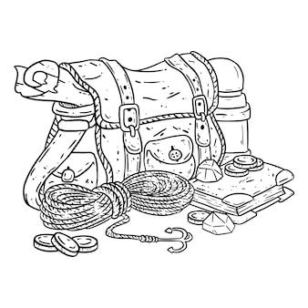 색칠 모험가 팩 선화 그림. 탐색기 아이템이있는 판타지 캐릭터 파우치. 보물 가방 만화