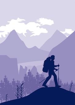 모험가 걷는 장면