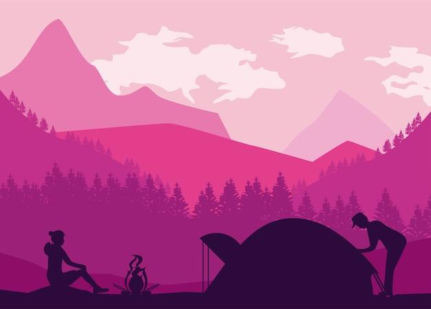 모험가와 텐트 장면