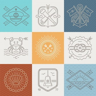 Adventures, nautical and travel emblems signs and labels - line drawing  illustration.