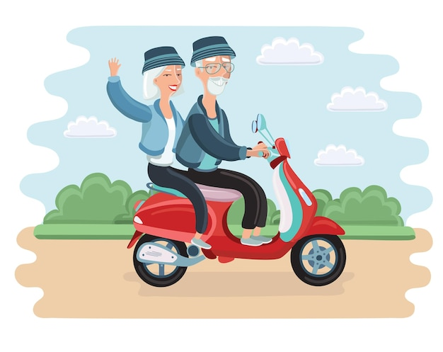 Adventurous mature couple riding a scooter