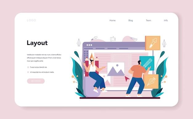 Advert designer or illustrator web banner or landing page. artist creating modern advertisment. digital banner development. creativity concept. flat illustration vector