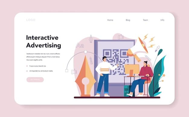 Advert designer or illustrator web banner or landing page