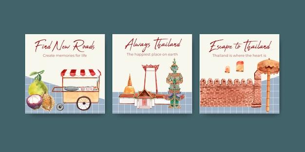 Pubblicizza il modello di banner impostato con viaggi in thailandia per il marketing in stile acquerello