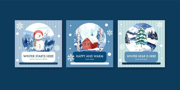 수채화 스타일의 광고 및 마케팅에 대한 겨울 판매로 설정된 배너 템플릿 광고