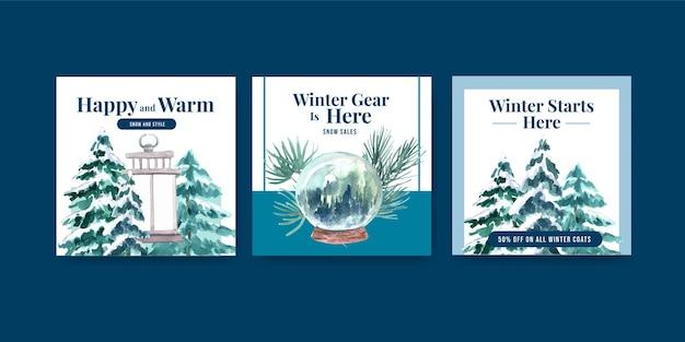 Шаблон рекламного баннера с зимней распродажей для рекламы и маркетинга в акварельном стиле