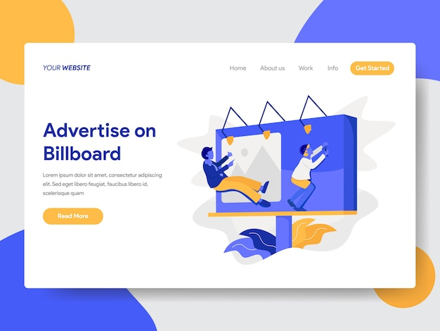 Advertise on billboard illustration for web page